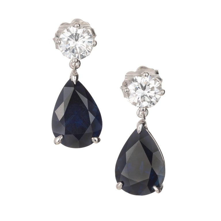 5.69 Carat Royal Blue Pear Shaped Sapphire Diamond Gold Dangle Earrings