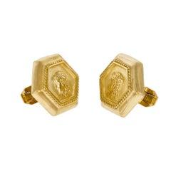 SeidenGang Athena Yellow Gold Hexagon Cufflinks