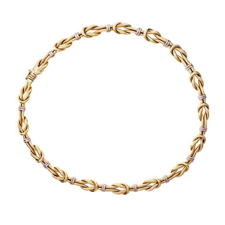 1960s Italian Knot Link Two-Tone Gold Necklace