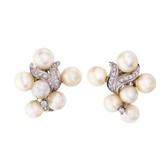 1950s Cultured Pearl Diamond Swirl Clip Post Flower Gold Earrings