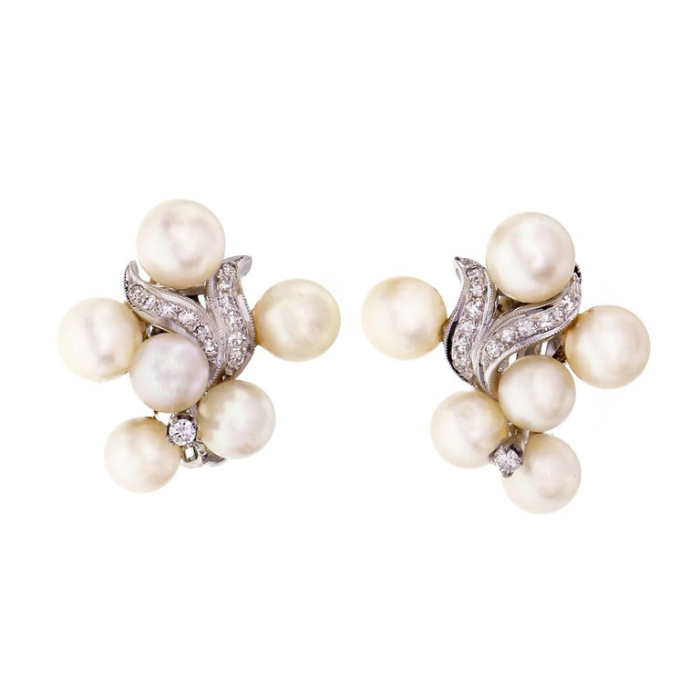 1950s Cultured Pearl Diamond Swirl Clip Post Flower Gold Earrings