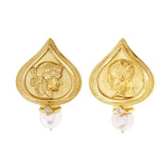 SeidenGang Pearl Diamond Yellow Gold Clip Post Earrings