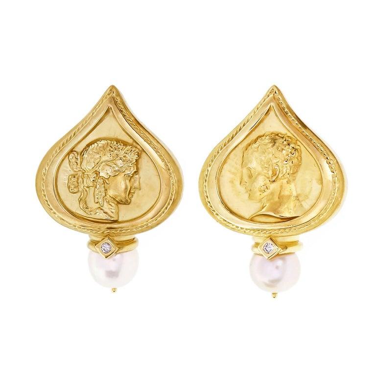 SeidenGang Pearl Diamond Yellow Gold Clip Post Earrings