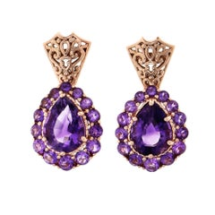 6.89 Carat Purple Amethyst Rose Gold Dangle Earrings
