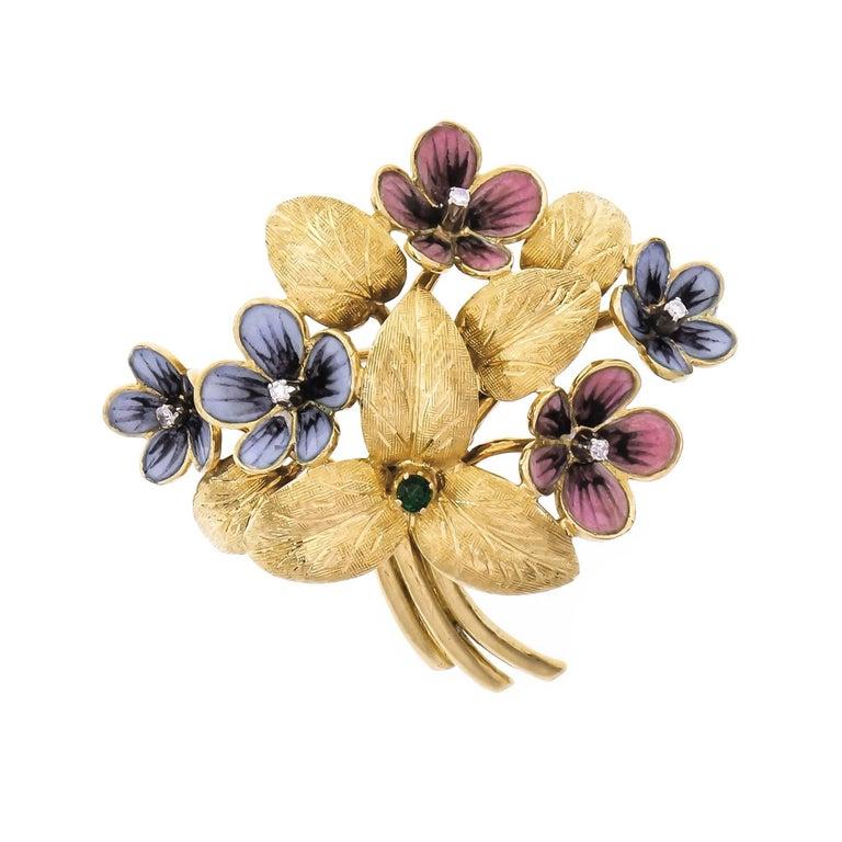 Cartier 1960s Emerald Diamond Enamel Gold Flower Brooch