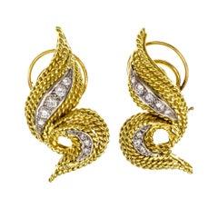 1960s Diamond Swirl Two-Tone Earrings