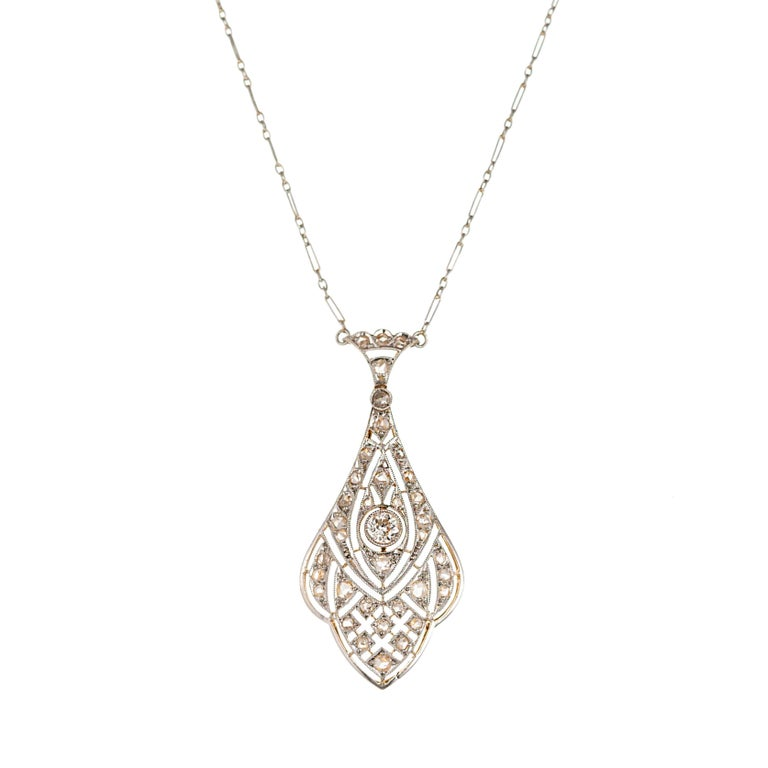 Edwardian European Rose-Cut Diamond Platinum Gold Pendant Necklace