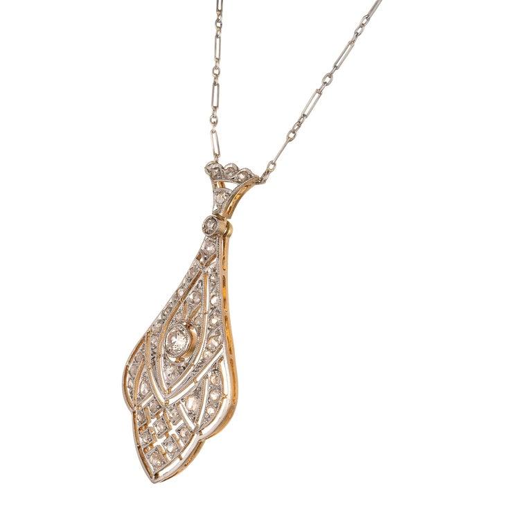 Old European Cut Edwardian European Rose-Cut Diamond Platinum Gold Pendant Necklace For Sale