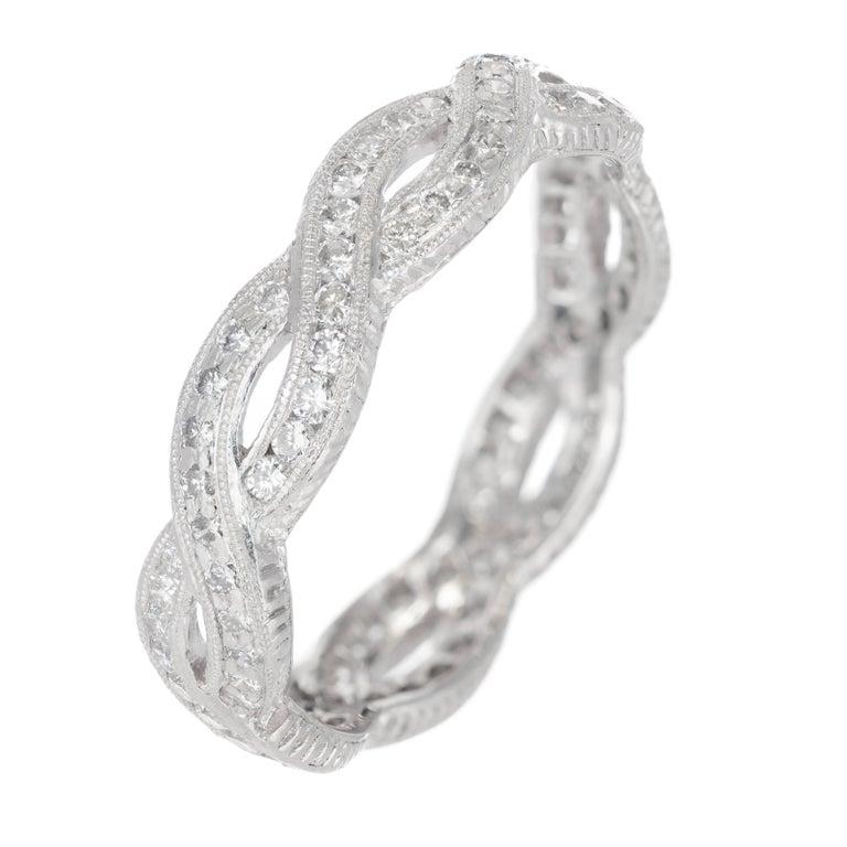 Peter Suchy Diamond Infinity Style Eternity Platinum Band Ring