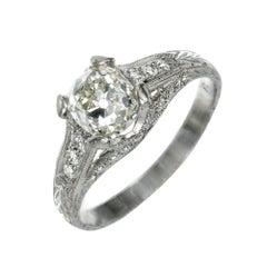 Peter Suchy EGL 1.34 Carat Cushion Cut Diamond Platinum Engagement Ring