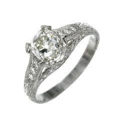 Peter Suchy 1.34 Carat Cushion Cut Diamond Platinum Engagement Ring