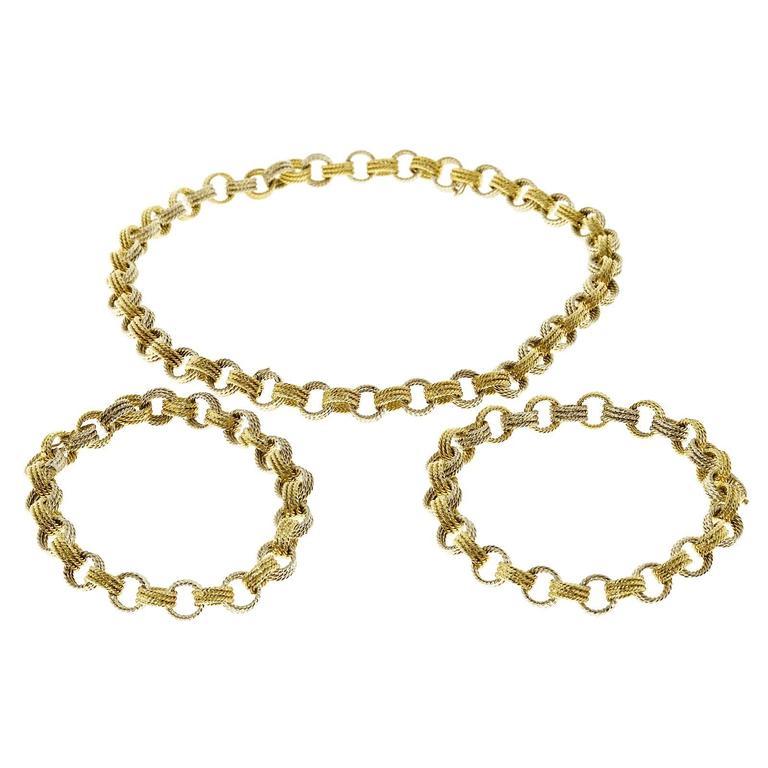 Handmade 2 Color Gold Wire Link Necklace Bracelet