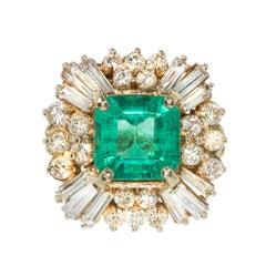 4.00 Carat Emerald Diamond Princess Gold Cocktail Ring