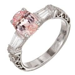 2.07 Carat Padparadscha Pink Sapphire Diamond Platinum Engagement Ring