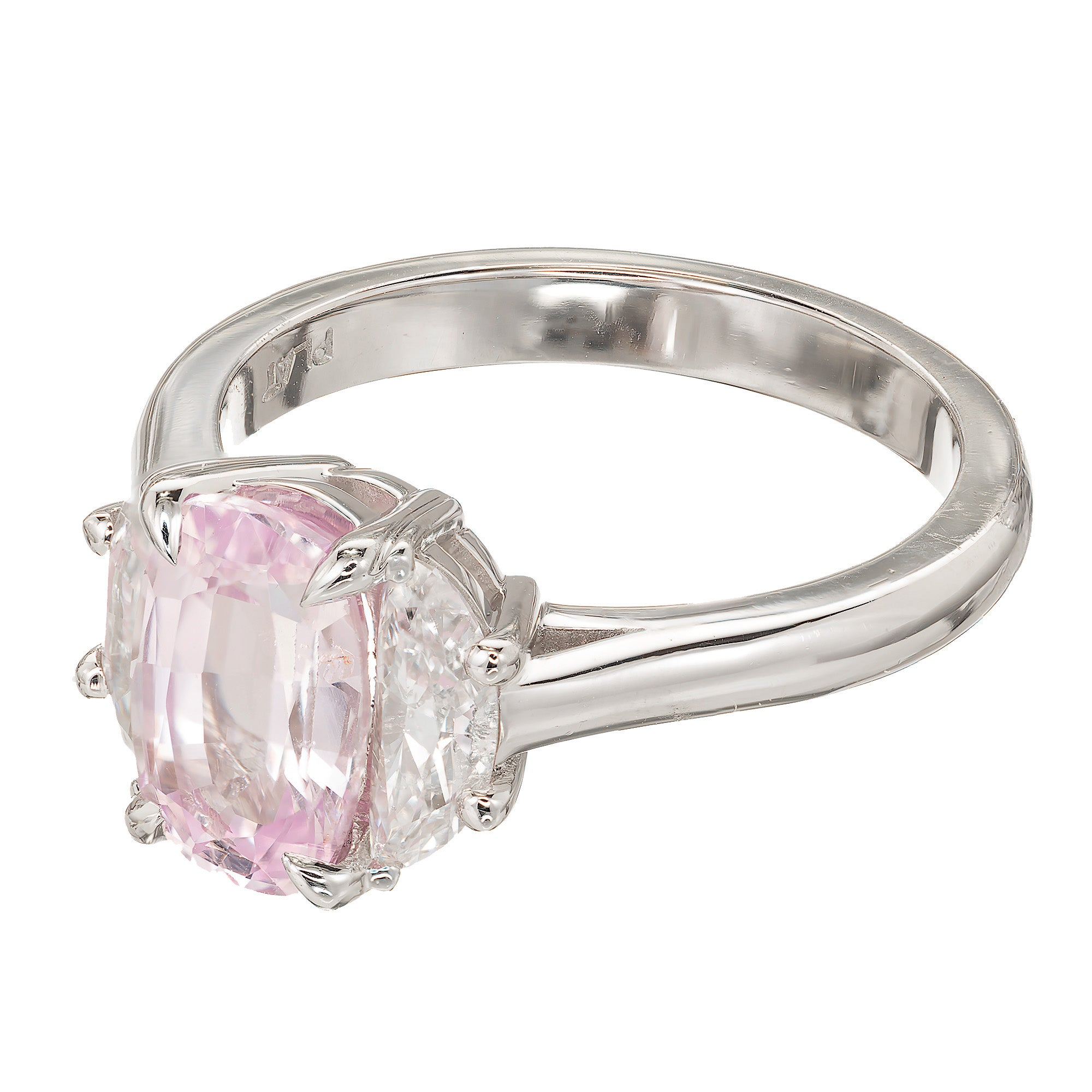 cut uneek ring carat emerald stone three engagement pink platinum with center diamond rings