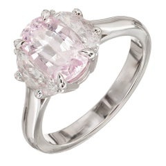 Peter Suchy 2.24 Carat Pink Cushion Sapphire Diamond Platinum Engagement Ring