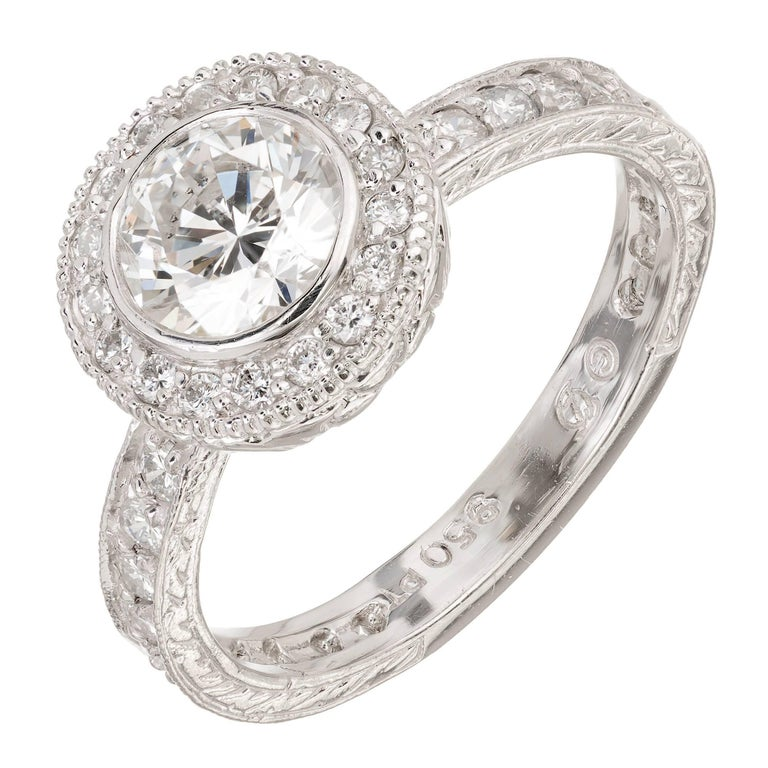 Peter Suchy 1.01 Carat Diamond Micro Pave Engraved Platinum Engagement Ring