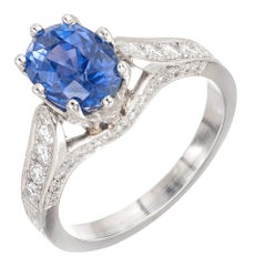 Peter Suchy 2.91 Carat Cornflower Blue Sapphire Diamond Platinum Engagement Ring