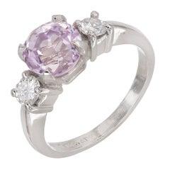 2.56 Carat Purple Sapphire Diamond Three-Stone Platinum Engagement Ring