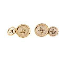 Tiffany & Co. Button Style Gold Double-Sided Cufflinks