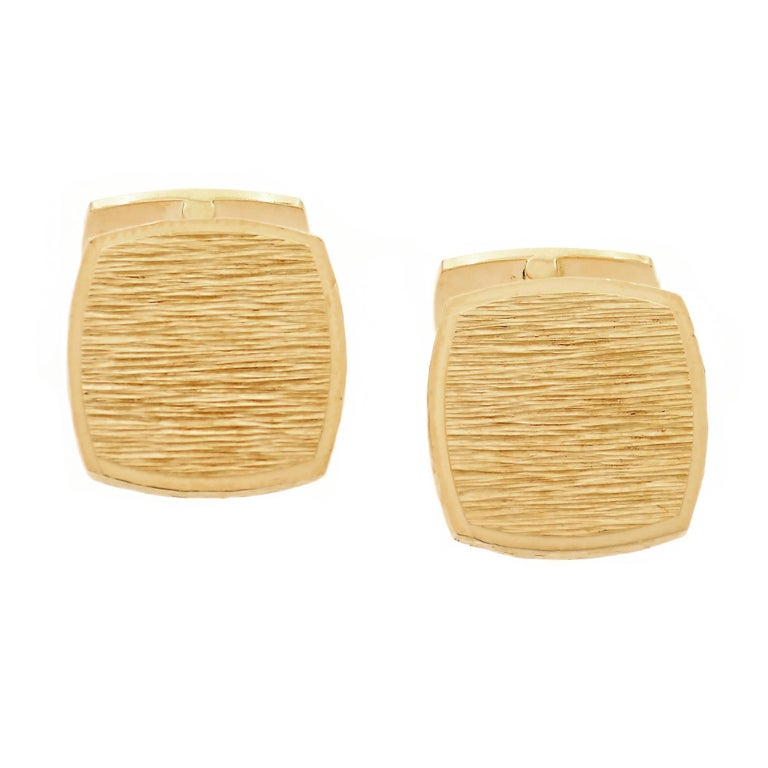 1970s Yellow Gold Double Sided Vintage Cufflinks