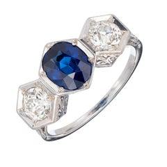 GIA Certified 1.75 Carat Sapphire Diamond Three-Stone Engagement Platinum Ring