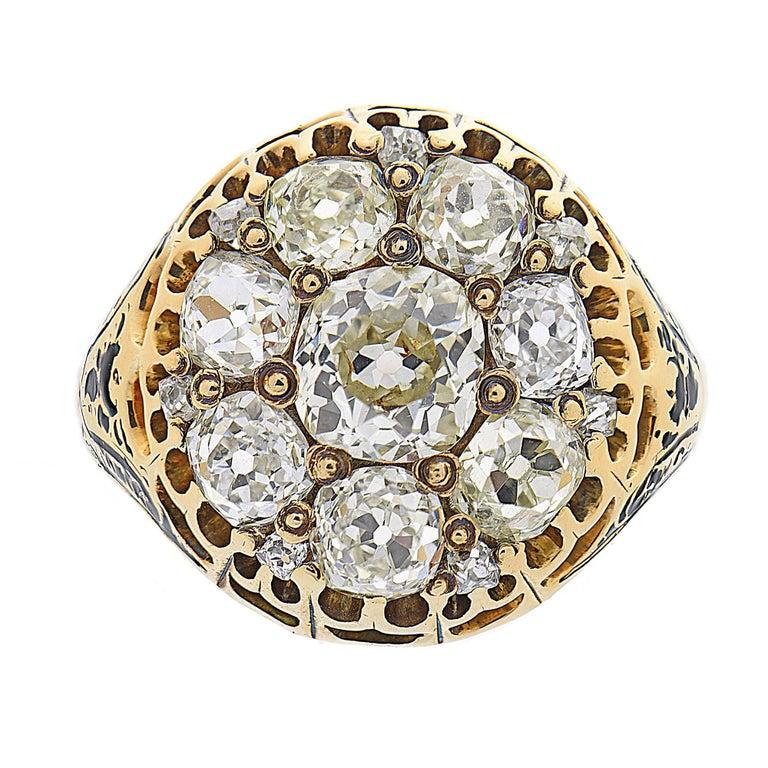3.05 Carat Diamond Victorian Enamel Yellow Gold Cocktail Cluster Ring