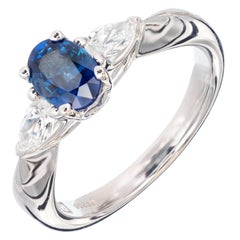 Peter Suchy 1.36 Oval Sapphire Diamond Three-Stone Platinum Engagement Ring