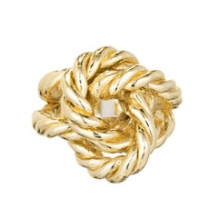 Midcentury Solid Twisted Wire Gold Knot Cocktail Ring