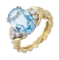 4.11 Carat Natural Oval Aquamarine Diamond Gold Engagement Ring