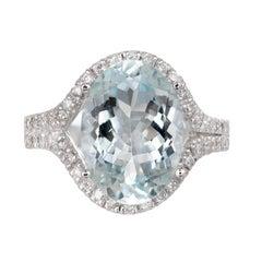 6.75 Carat Bright Green Blue Aquamarine Diamond Halo Gold Cocktail Ring