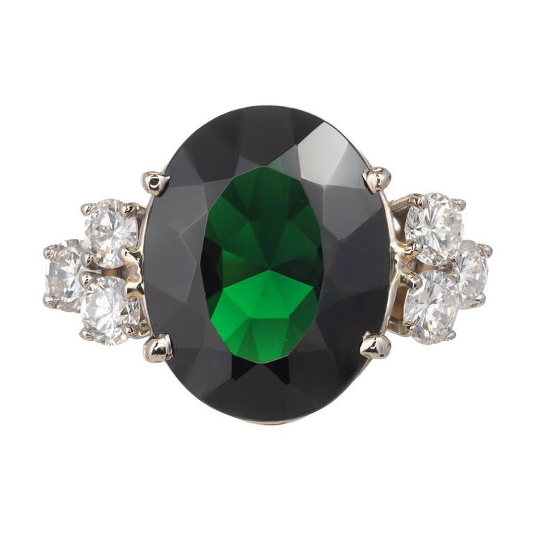 8.50 Carat Deep Green Tourmaline Diamond Gold Cocktail Ring For Sale