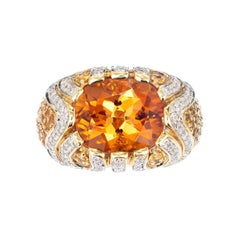 Ariel 8.88 Carat Orange Citrine Sapphire Diamond Gold Raised Dome Cocktail Ring