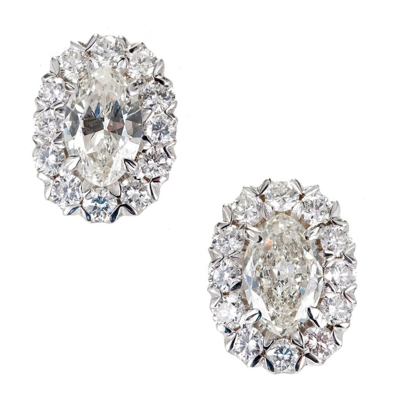 Peter Suchy 1.65 Carat Halo Design Marquise Round Diamond White Gold Earrings