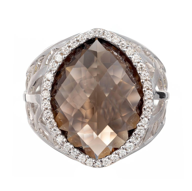12.14 Carat Faceted Marquise Smoky Topaz Diamond Gold Halo Cocktail Ring