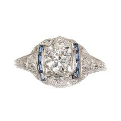.76 Carat Diamond Sapphire Domed Engraved Filigree Art Deco Gold Engagement Ring