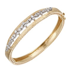 .98 Carat Diamond Mid-Century Solid Gold Hand Florentined Bangle Bracelet