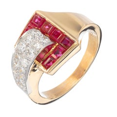 Ruby Diamond Gold Platinum Buckle Cocktail Ring