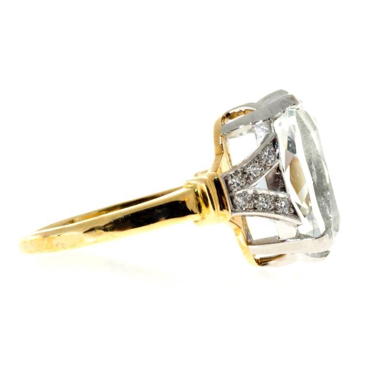 aquamarine gold platinum ring at 1stdibs