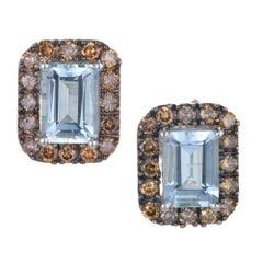 1.75 Carat Emerald Cut Aquamarine Brown Diamond Gold Stud Earrings