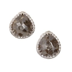 3.47 Carat Pear Dark Gray Diamond Halo Gold Stud Earrings