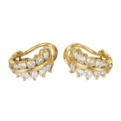 1.72 Carat Diamond Yellow Gold Huggie Earrings