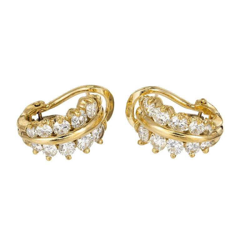 1.72 Carat Diamond Yellow Gold Huggie Earrings