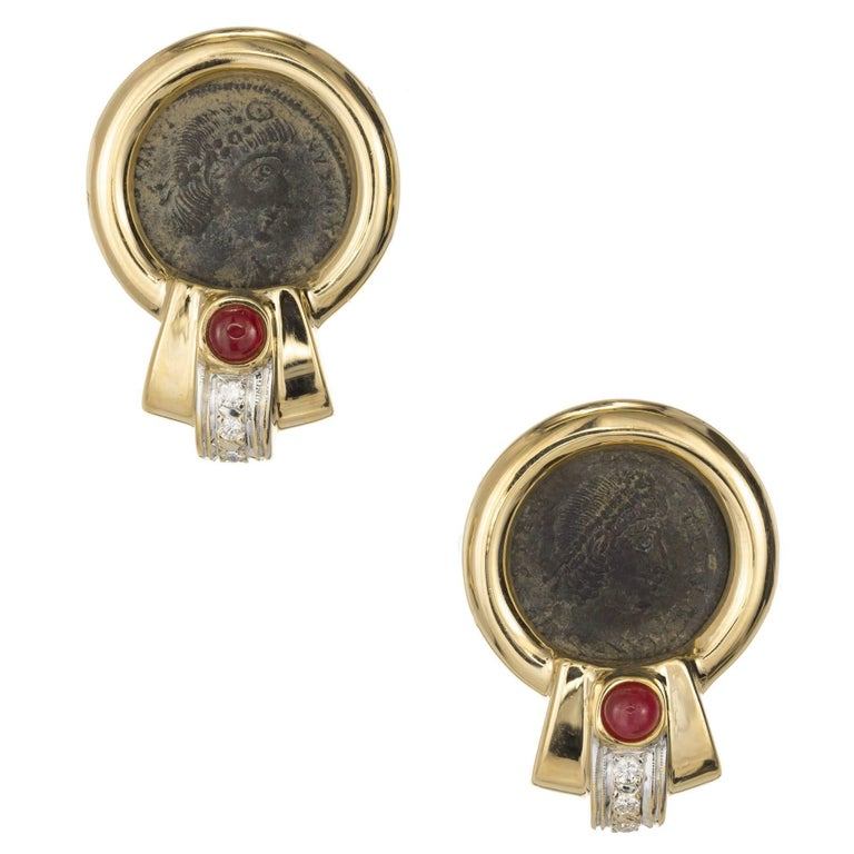 Ruby Diamond Two-Tone Gold Coin Clip Post Earrings