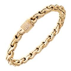 Di Modolo Men's Tempia Diamond Yellow Gold Link Bracelet