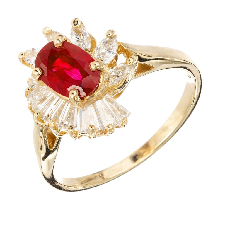 .88 Oval Ruby Diamond Halo Gold Engagement Ring For Sale