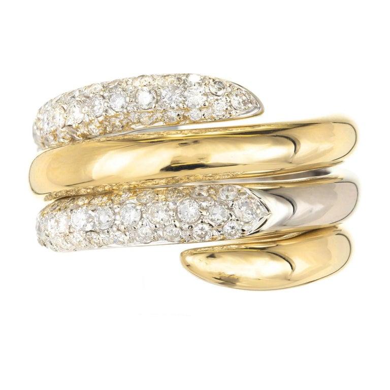 .69 Carat Diamond Interlocking Two-Tone Gold Swirl Cocktail Ring