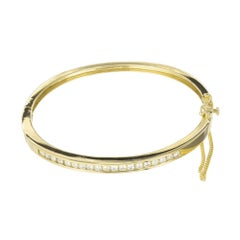 .76 Carat Diamond Yellow Gold Bangle Bracelet
