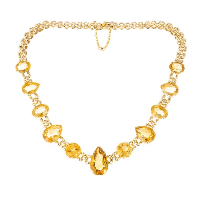 64.26 Carat Citrine Rose Gold Link Necklace