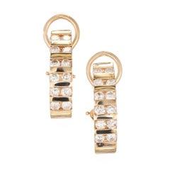 1.44 Carat Diamond Channel Gold Half Hoop Earrings